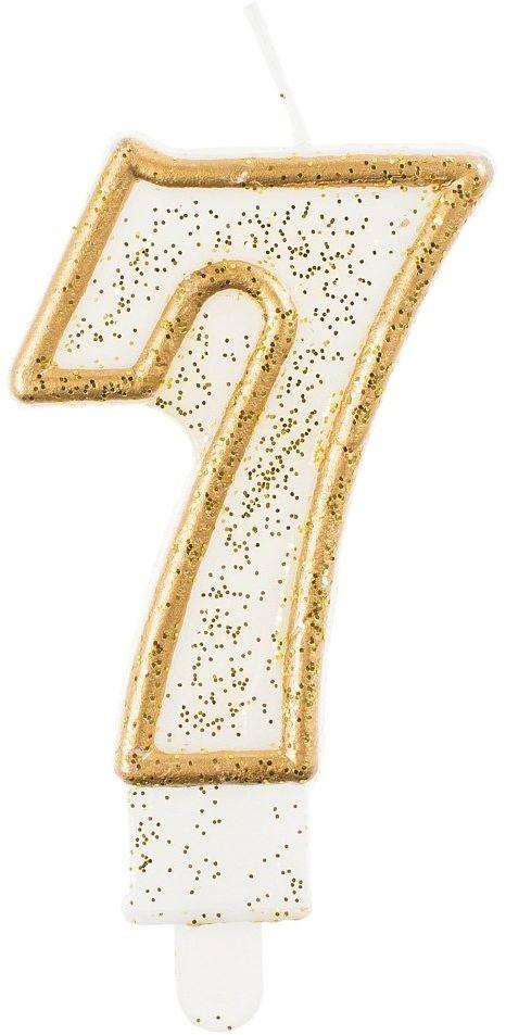 Świeczka na tort cyfra 7 złota brokatowa 1 sztuka PF-SCZK7