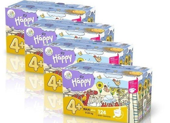 4x Bella Happy Rozmiar 4+Box,124 pieluszek,9-20 kg