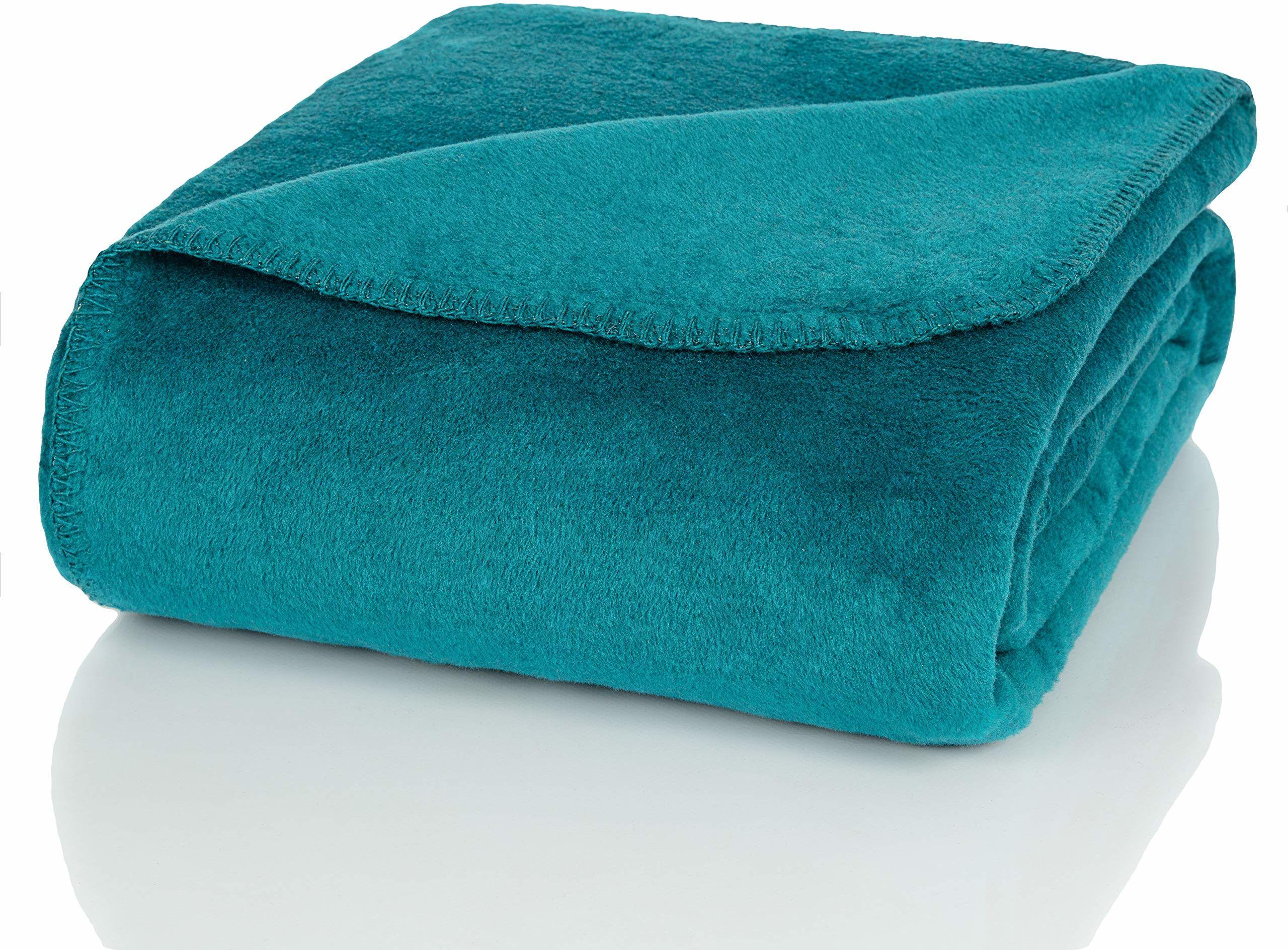Glart Koc do przytulania uni petrol XL 150 x 200 cm sofa, miękki i ciepły koc wełniany bardzo puszysty jako narzuta na sofę, przytulny koc na sofę