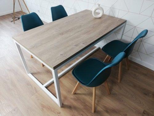 Nowoczesny stół na metalowej konstrukcji EVO 160/90 Biały - Dąb Brunico