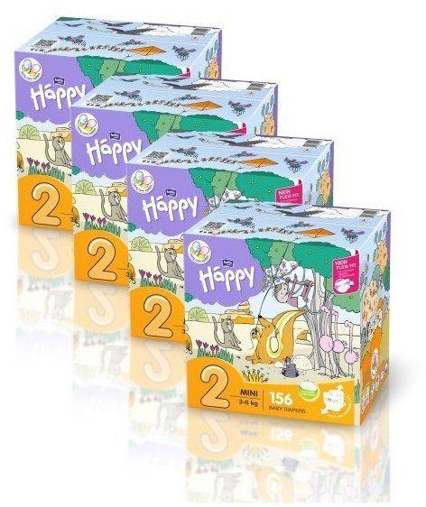 4x Bella Happy Rozmiar 2 Box,156 pieluszek, 3-6 kg
