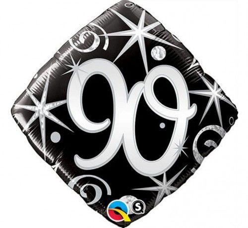 Balon foliowy na 90 urodziny, czarne serpentyny i gwiazdki
