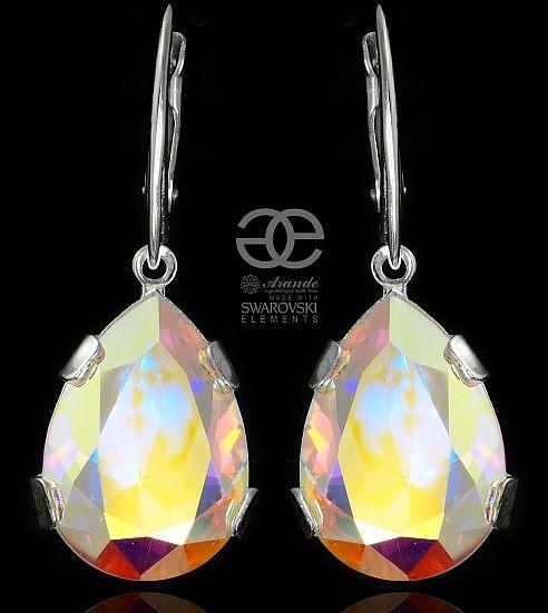 Kryształy piękne kolczyki AURORA SREBRO
