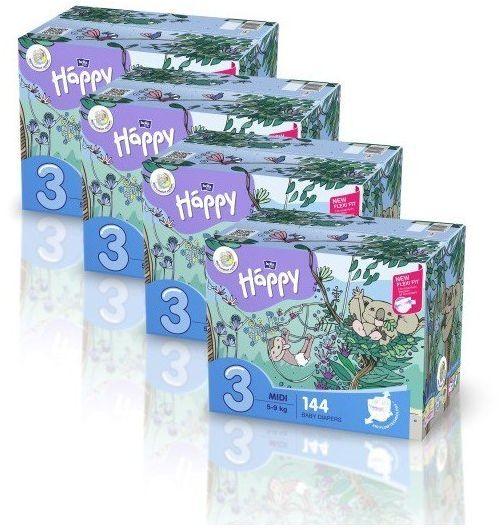 4x Bella Happy Rozmiar 3 Box,144 pieluszek, 5-9 kg