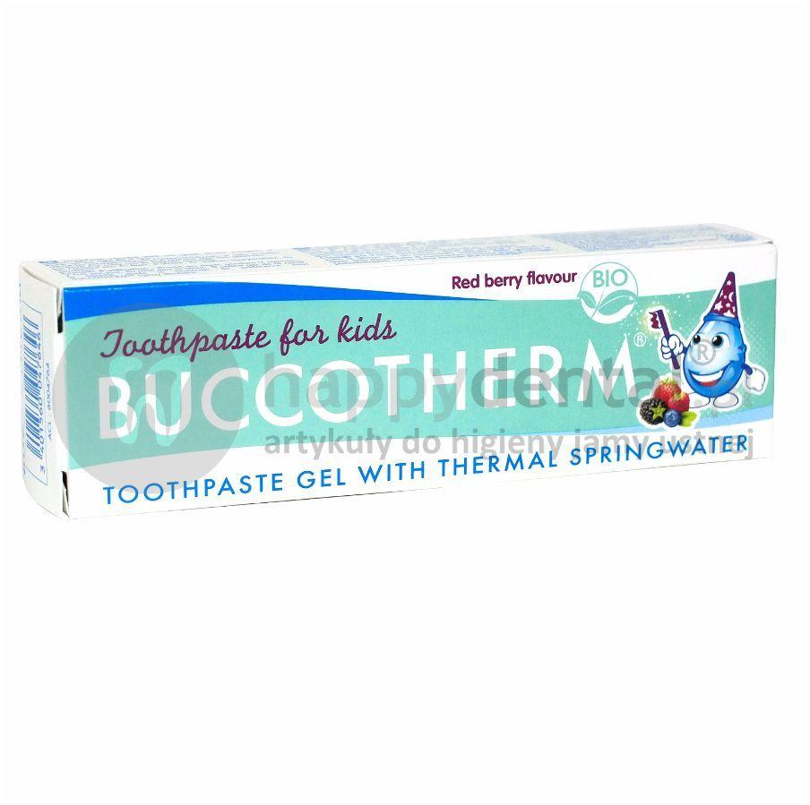 BUCCOTHERM Red Berry 50 ml organiczna pasta/żel do zębów bez fluoru dla dzieci powyżej 3 roku życia