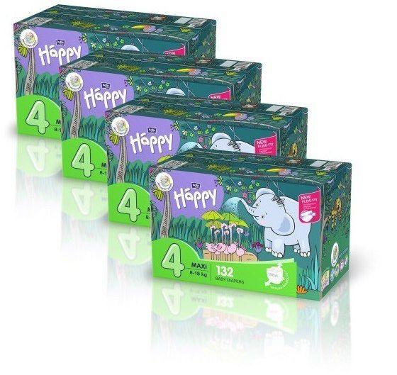 4x Bella Happy Rozmiar 4 Box,132 pieluszek, 8-18kg