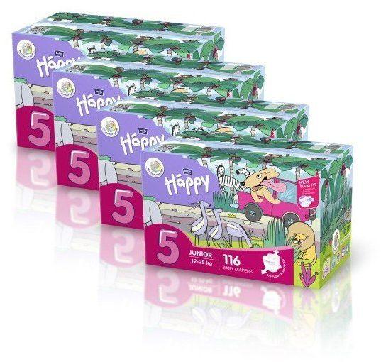 4x Bella Happy Rozmiar 5 Box,116 pieluszek,12-25kg