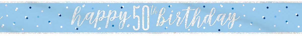 Baner Happy Birthday niebieski na 50 urodziny - 274 cm - 1 szt.