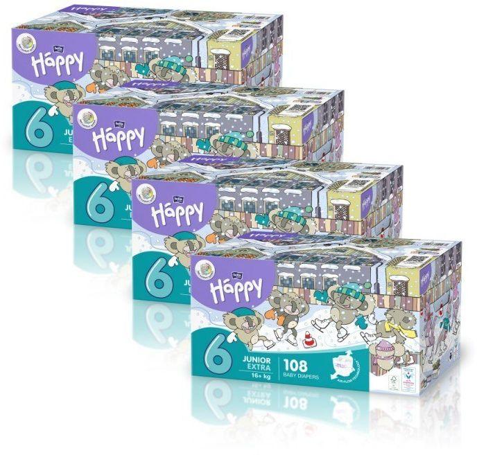4 x Bella Happy Rozmiar 6 Box,108 pieluszek,16 kg+