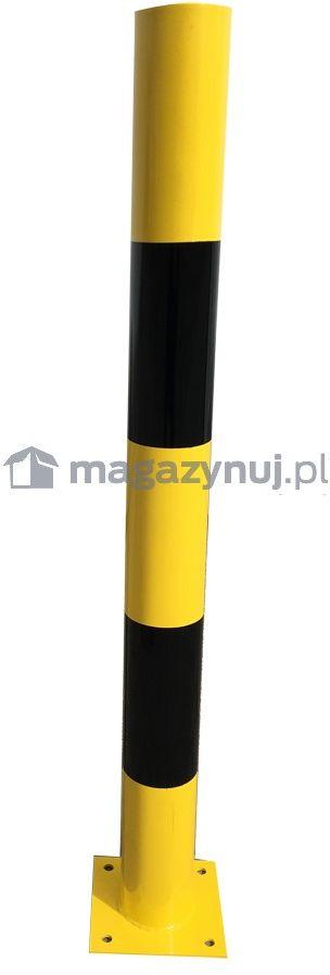 Stalowy słupek ochronny z czarnymi pasami (wys. 1000 mm)