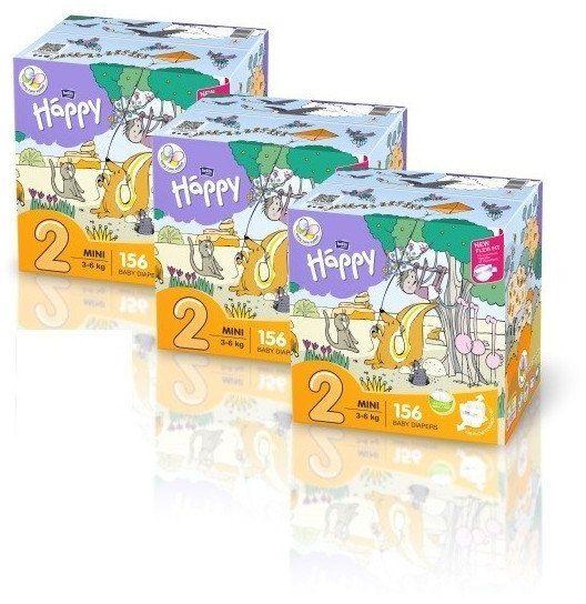 3x Bella Happy Rozmiar 2 Box,156 pieluszek, 3-6 kg