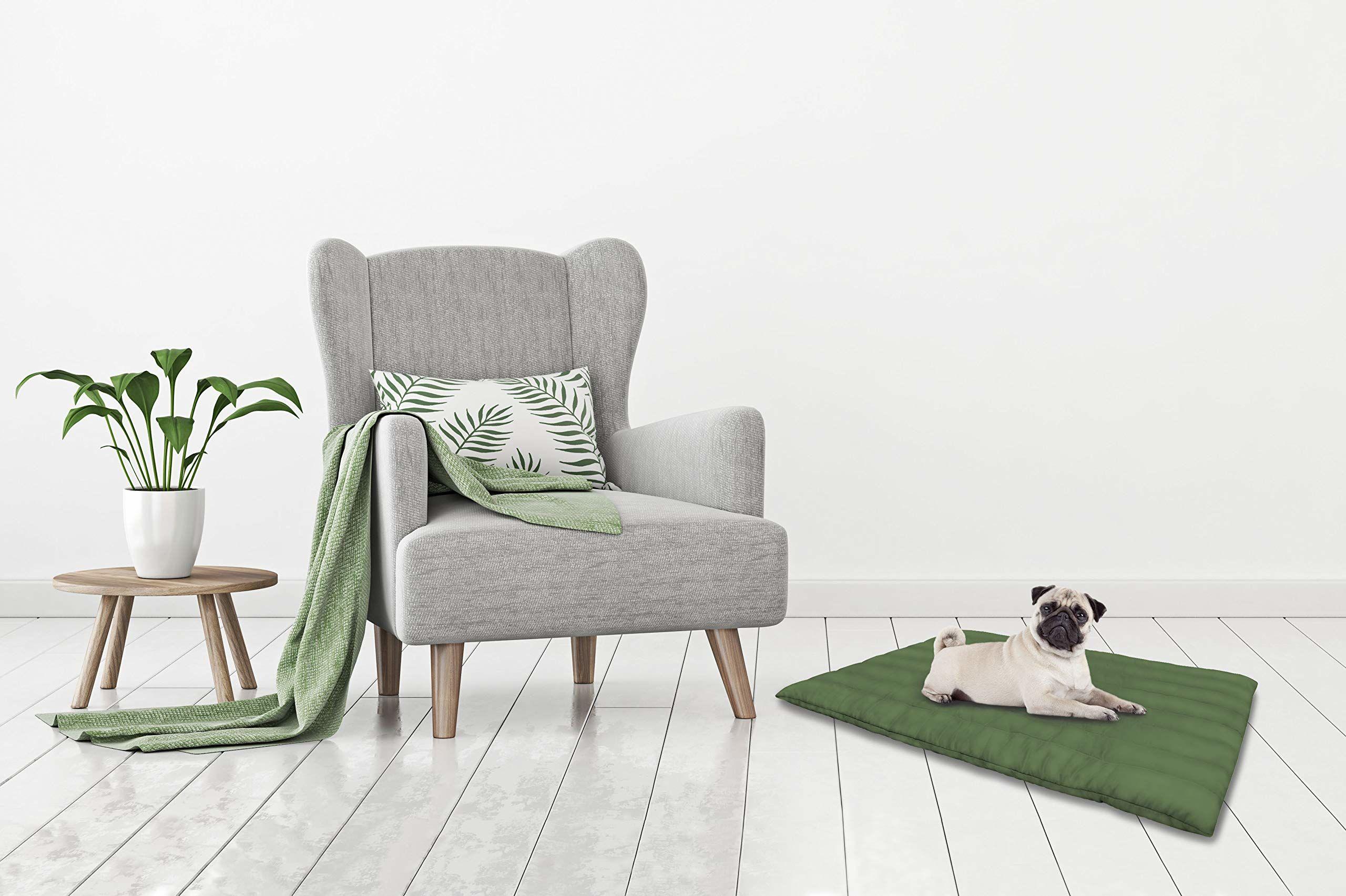 Elegancka poduszka do prania dla psa 60 x 100 cm ciemnozielona