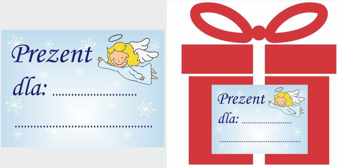 Etykiety na prezent z aniołkiem