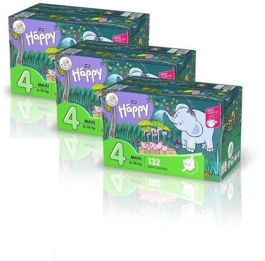 3xBella Happy Rozmiar 4 Box,132 pieluszki, 8-18 kg