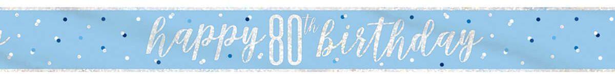 Baner Happy Birthday niebieski na 80 urodziny - 274 cm - 1 szt.