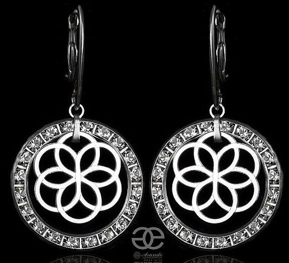 Kryształy ROSE SENSATION Piękne Kolczyki SREBRO