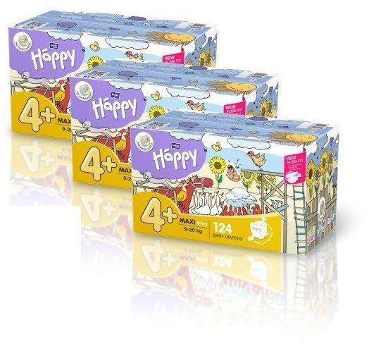 3x Bella Happy Rozmiar 4+Box,124 pieluszek,9-20 kg