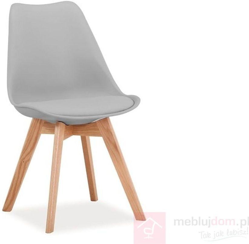 KUPON 10% NA STRONIE  Krzesło KRIS Signal dębowe nóżki Szary jasny