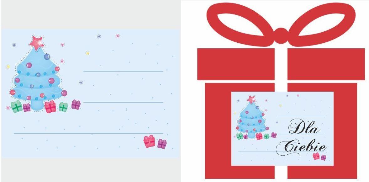 Etykiety na prezent z błękitną choinką