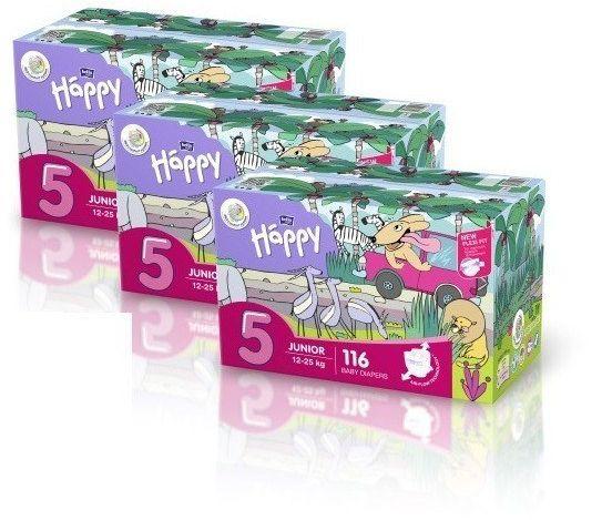 3x Bella Happy Rozmiar 5 Box,116 pieluszek,12-25kg