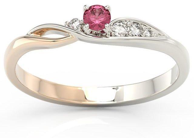 Pierścionek z białego i różowego złota z rubinem i brylantami bp-7810bp