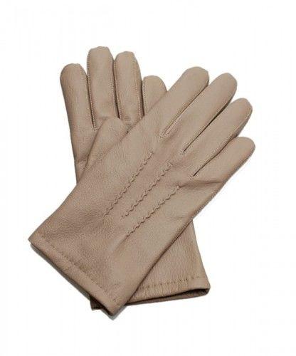 Beżowe rękawiczki męskie z miękkiej i ciepłej skóry z jelenia