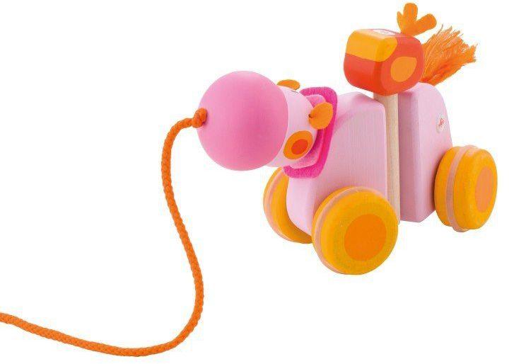 Różowy hipopotam z towarzyszem - drewniana zabawka do ciągnięcia, 82888-Sevi, zabawka na sznurku