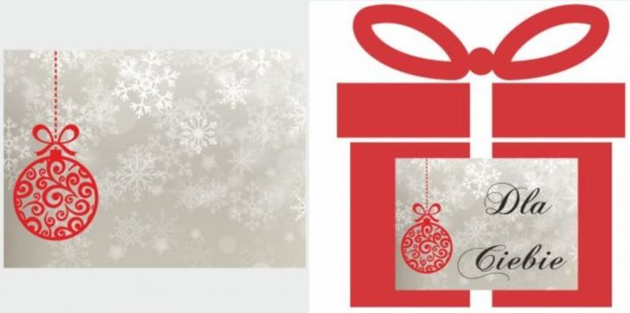 Etykiety na prezent z czerwoną bombką