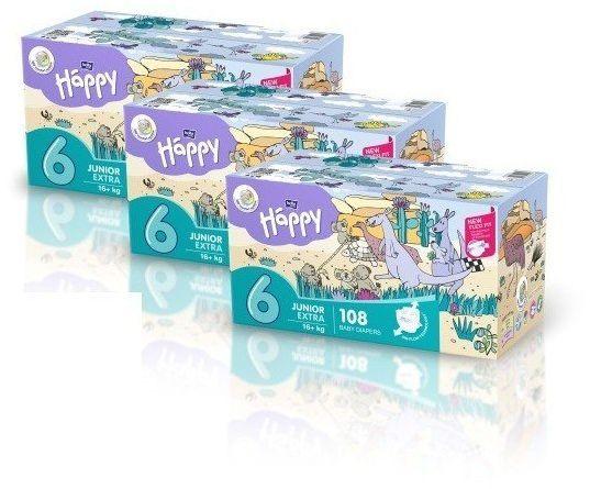 3 x Bella Happy Rozmiar 6 Box,108 pieluszek,16kg+