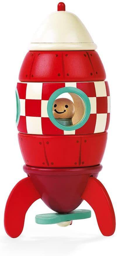 Janod J05207 magnetyczne rakiety drewniane, z 5 części, 16 cm, zabawa, od 2 lat, kolor czerwony
