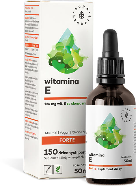 Witamina E Forte (200 IU) MCT-Oil, Krople, Aura Herbals, 50ml