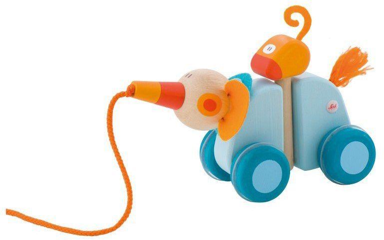 Niebieski słonik z towarzyszem - drewniana zabawka do ciągnięcia, 82887-Sevi, zabawka na sznurku