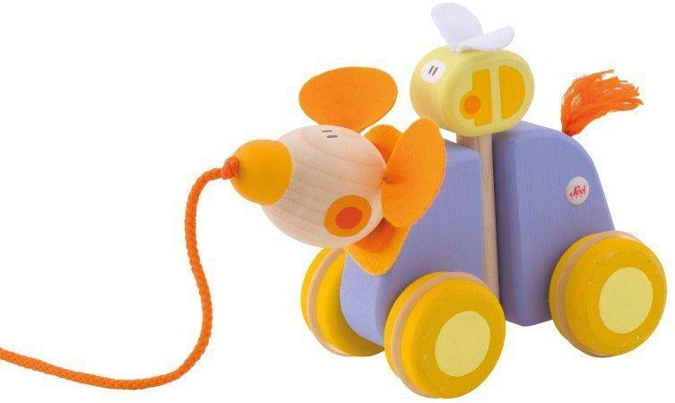 Fioletowa myszka z towarzyszem - drewniana zabawka do ciągnięcia, 82890-Sevi, zabawka na sznurku