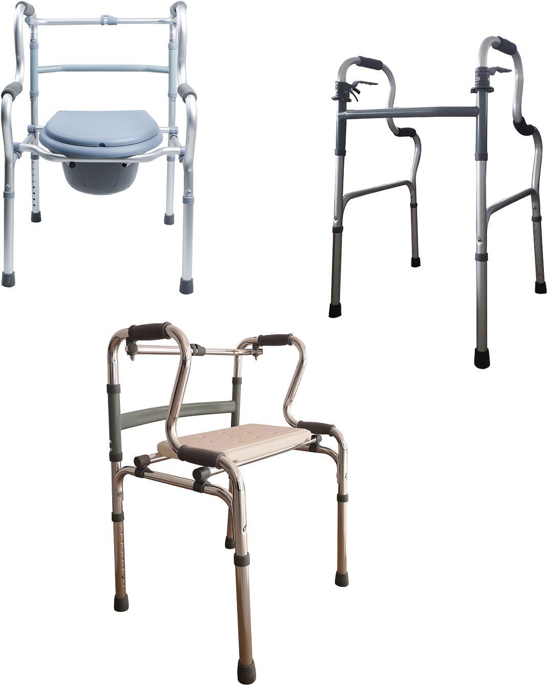 Wielozadaniowe krzesło LUCA z funkcją toalety, balkonika i ławeczki + kółka - bezpieczne i wygodne wsparcie dla osób starszych i po urazie (RF-803)