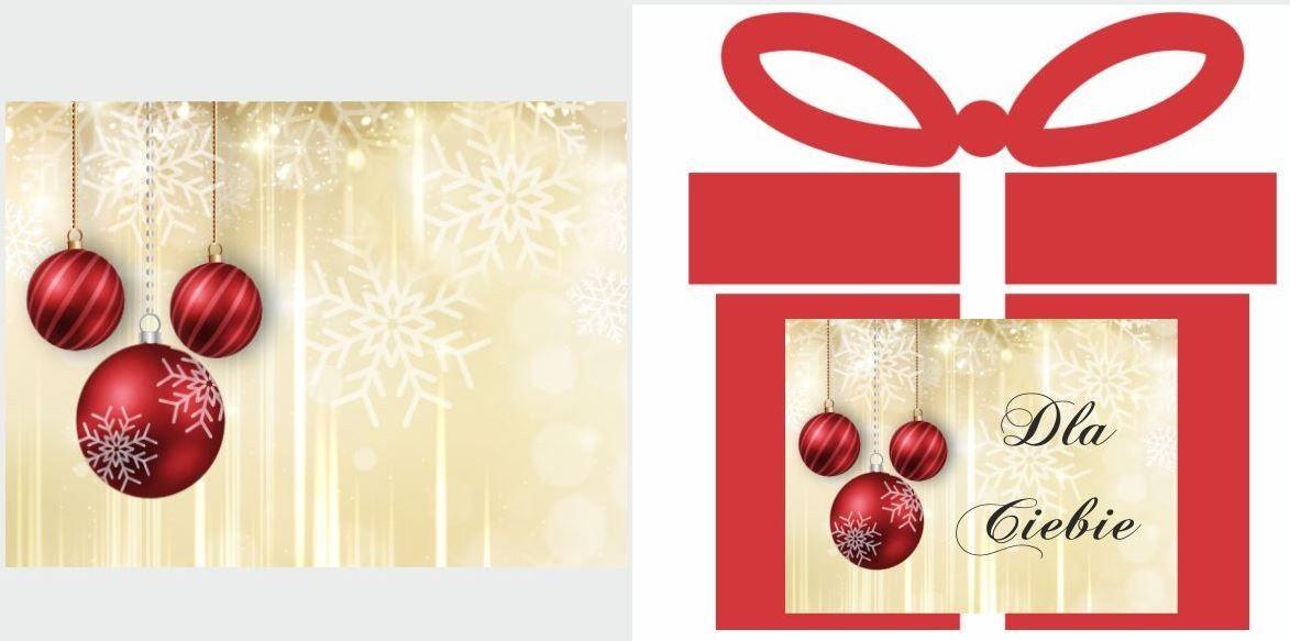 Etykiety na prezent z czerwonymi bombkami