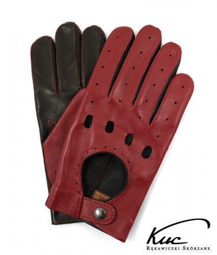 Skórzane męskie rękawiczki do jazdy samochodem - czerwono-czarne