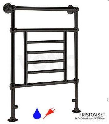 FRISTON h96x67cm, 270W, woda/230V, black grzejnik łazienkowy retro.VETTO