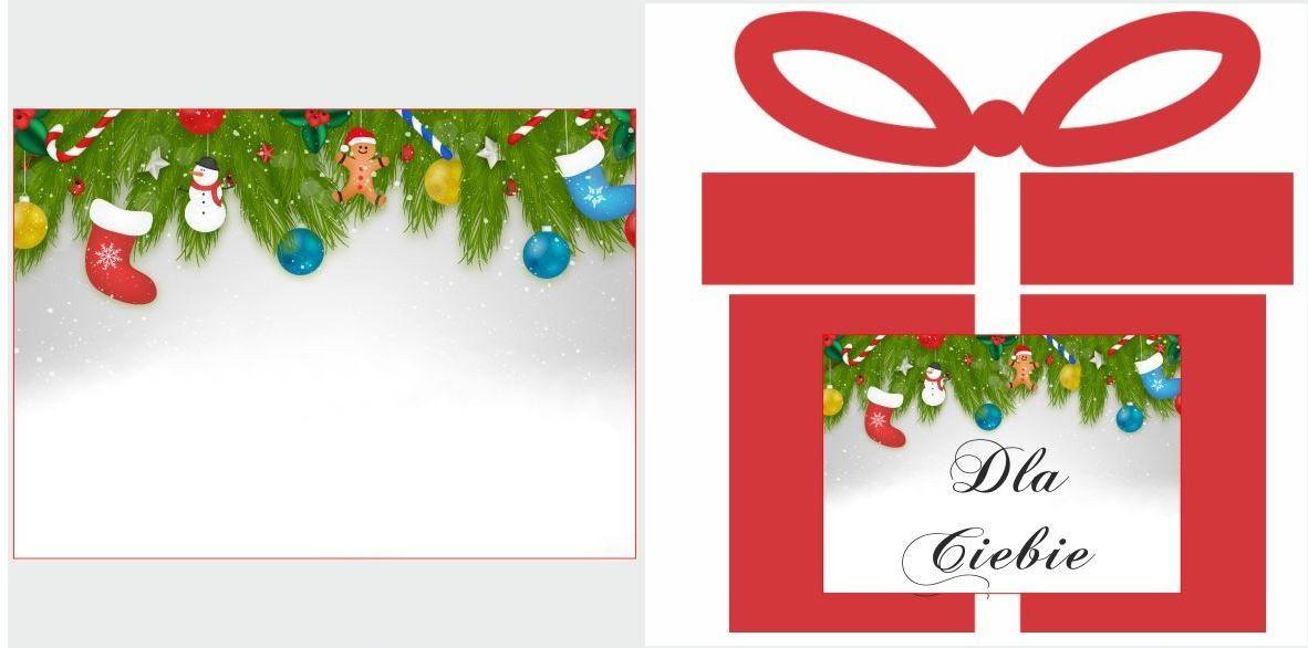 Etykiety na prezent z dekoracją świąteczną choinką