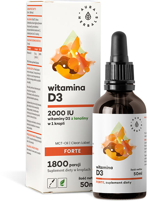 Witamina D3 Forte 2000IU MCT-Oil, Krople, Aura Herbals, 50ml