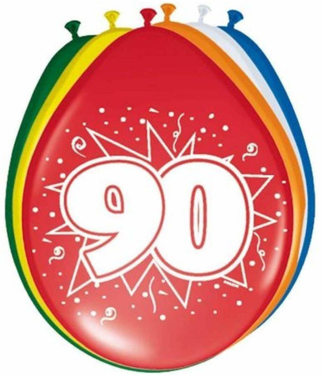Folat Balony na 90 urodziny 08290 30 cm - 8 sztuk, wiele kolorów
