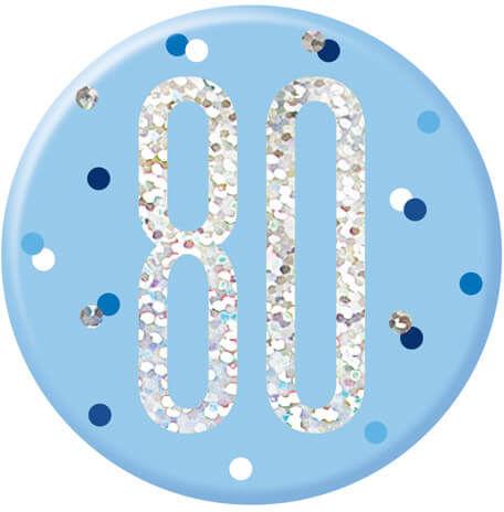 Kotylion na osiemdziesiąte urodziny niebieski - 1 szt.
