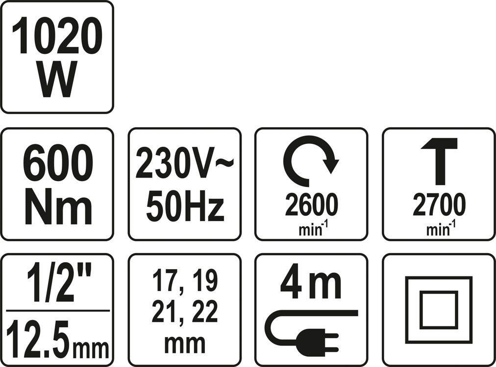 Elektryczny klucz udarowy Yato 1/2 600 Nm