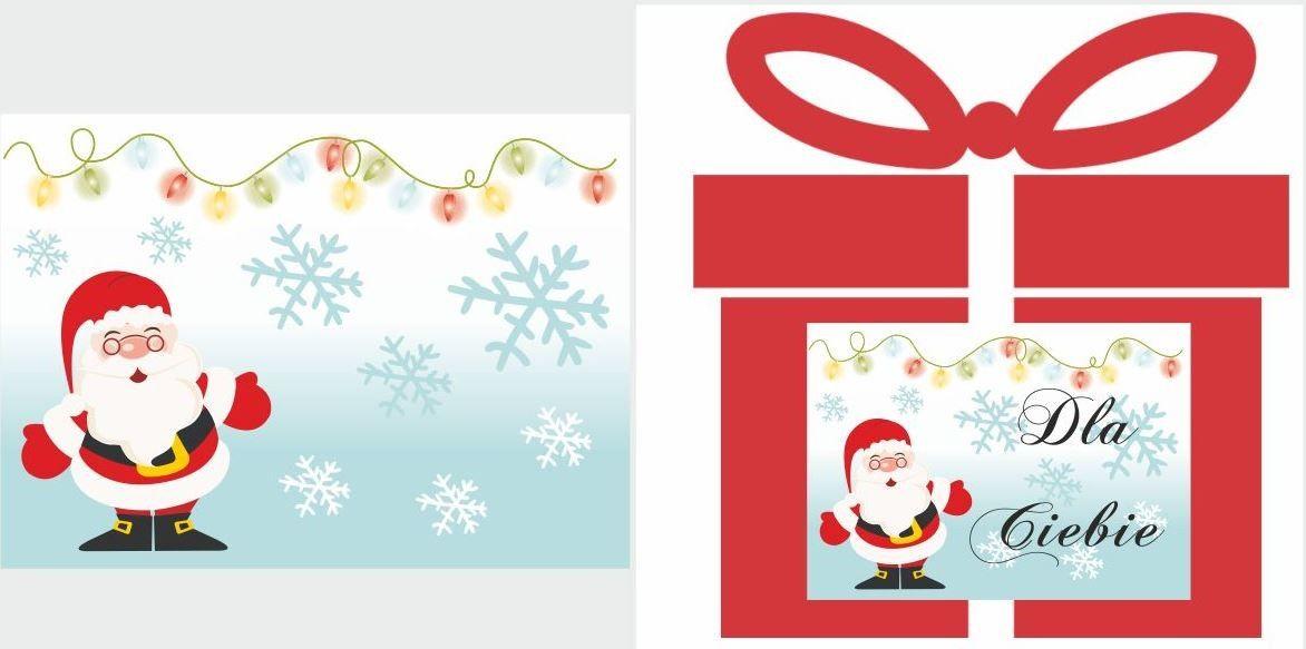 Etykiety na prezent z Mikołajem i światełkami