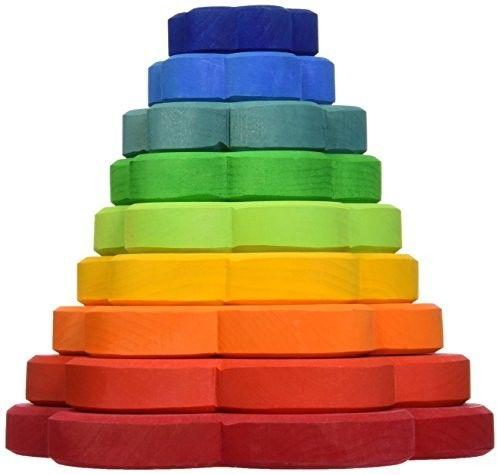 Grimm''s - Drewniana Piramida Wieża Kwiatki 1+ Kolorowa