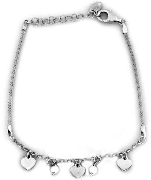 Srebrna bransoletka 925 z zawieszkami perełki 2,78 g