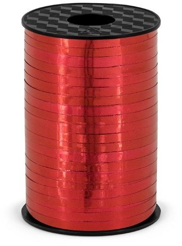 Wstążka plastikowa metalizowana do balonów czerwona 5mm 225m PRM5-007