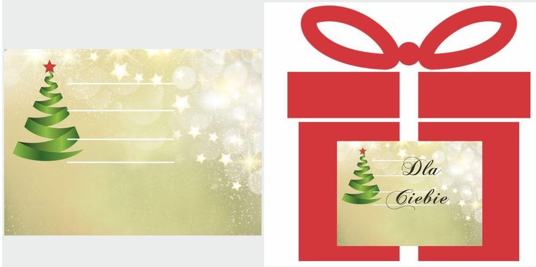 Etykiety na prezent z nowoczesną choinką