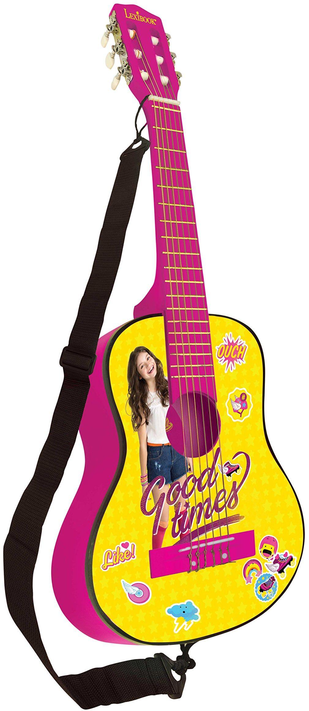 Lexibook Disney Soy Luna drewniana gitara akustyczna, przewodnik naukowy w zestawie, żółty/różowy, K2000SL