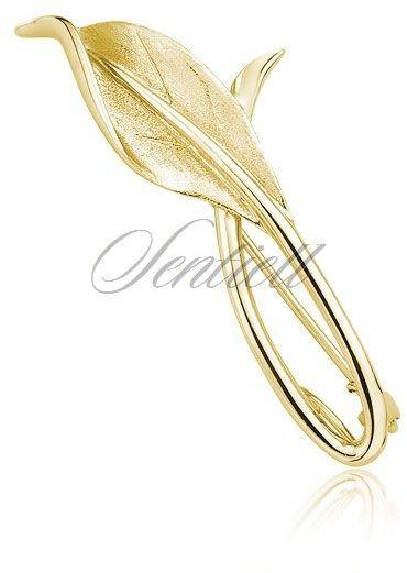 Srebrna pozłacana broszka pr.925 Liść - Żółte złoto
