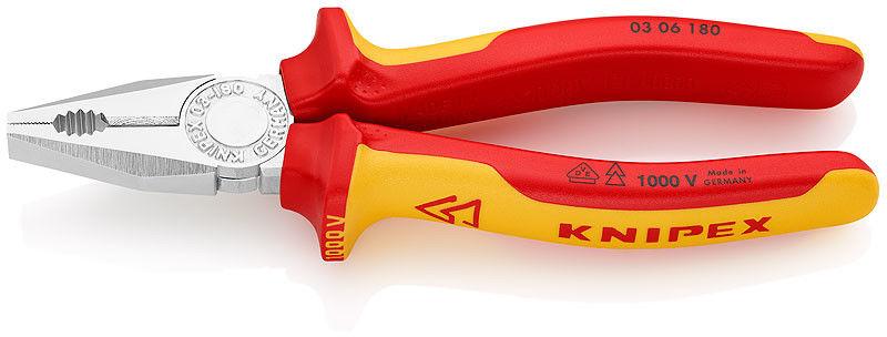 szczypce uniwersalne, kombinerki w izolacji VDE 200mm Knipex [03 06 200]